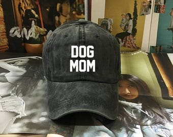 Dog Mom Baseball, Denim Black Red Denim Cap, Jean Cap, Low-Profile Baseball Cap Hat