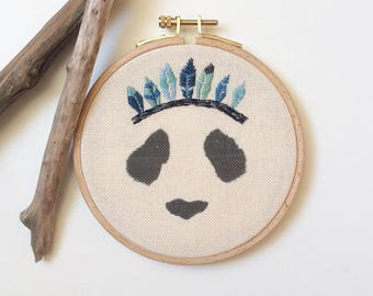 """Panda with feathers"" wall embroidery"