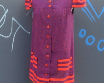Early seventies vintage smock mini dress | size 10-12
