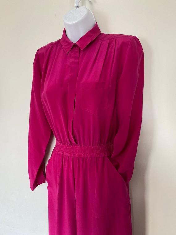 Wallis vintage hot pink silk jumpsuit size small