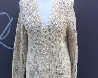 Seventies vintage irish Linen knit cardigan | size 10-12