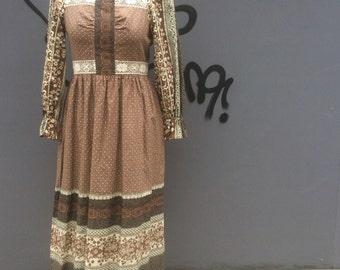 Mister Ant seventies vintage print dress | size uk 10