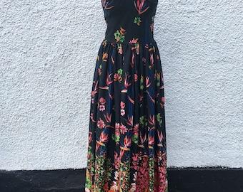 Horrockses seventies vintage maxi dress | size 10-12