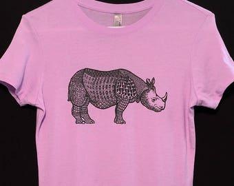 Women's Medium Rhino T-shirt: Handmade, Original design, 100 % cotton, Next Level brand