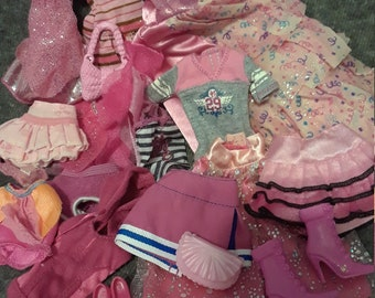 BIG Lot of pink Barbie clothes and accessories, shoes, purses, skirts, gowns