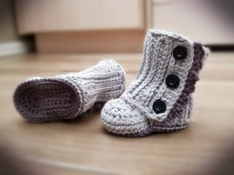 best authentic 5f431 6799f crochet baby booties, baby boots, baby booties, wrap around boots, baby  girl booties, booties with button, cotton booties, baby girl boots