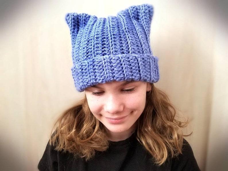 6b5d8b1f565 Crochet cat ear hat crochet cat ear beanie pussy cat hat