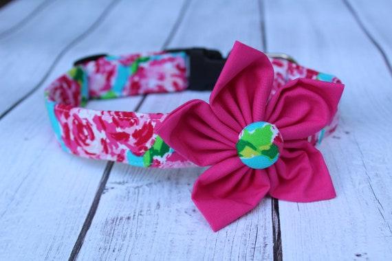 Hot Dog Collar florale rose - féminin chien - chaud laisse pour chien rose - rose chien harnais - Designer chien - collier de chien fleur accessoire