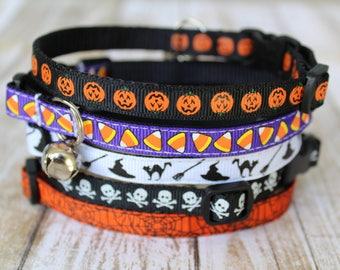 Halloween Cat Collars - XS Halloween Dog Collar - Halloween Cat Harness - Kitten collar - Candy Corn Cat Collar - Candy Corn XS Dog Collar