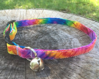 Tie Dye Cat Collar - 70s Cat Collar - Tie Dye XS Dog Collar - Kitten Collar - Tie Dye Cat and Dog Harness - Matching Cat and Dog Collars