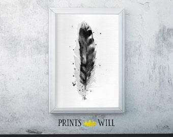 Feather Print, Feather Wall Decor, Feather Decor, Black White Feather, Feather Art, Feather Fine Art, Black White Art, Black White Decor