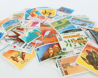 Vintage Postage Stamps from Indonesia - Pack of 50