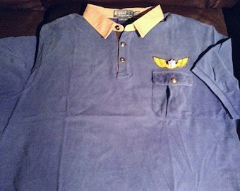 XXL Polo ralph lauren vintage expedition polo shirt in washed dark blue 855cab7d06dfd