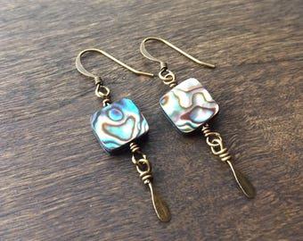 Iridescent Abalone Shell Earrings, Bohemian Beaded Earrings, Shell Earrings, Boho Earrings, Rustic Earrings, Everyday Earrings