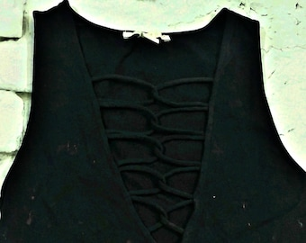 Black Lace Up Cropped Tank Bleached Top Distressed Shirt Criss Cross Shirt Bleached Shirt Crop Top Black Tank Top Lace up Tank SIZE MEDIUM