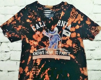 California Knows How To Party Distressed Tee Graphic Tee Choker Shirt Bleached Shirt Distressed Tee Party Shirt Women's SIZE LARGE