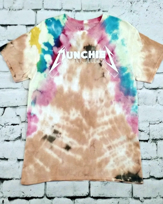 Tie Dye Munchies T Shirt Distressed Top Bleached T Shirt Etsy