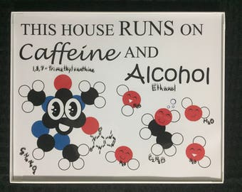 This House Runs on Caffeine and Alcohol- Framed Print