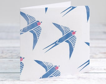 Swallows In Flight Hand Printed Lino Cut Card For Any Occasion- Birthday- Thank You- Retirement- Note Card- Free Personalisation