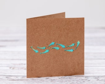 Iridescent Shoal of Fish Papercut Greeting Card for Fathers Day, Birthday, Thank You Card, Wedding Card. Can Be Personalised On The front.