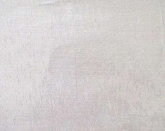Voile fabric lamé thin stripes white gold
