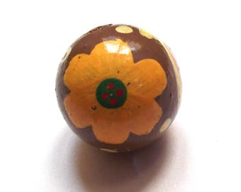 Large vintage wooden handpainted 28 mm bead