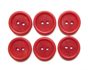 6 buttons round red cardinal 18 mm / top quality