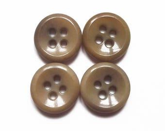 4 round buttons vintage khaki acrylic 12 mm
