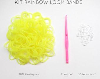 Kit 300 neon yellow elastic + 10 clasps S + 1 crochet rainbow loom bands