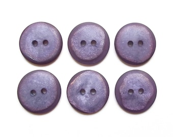 6 round purple buttons 19 mm
