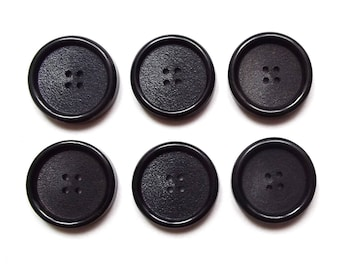 6 buttons round black acrylic 22 mm / top quality