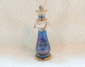 Tiny Egyptian Handmade Perfume Bottle with dauber in blue and clear with gold details vanity or vanity tray decor feminine and romantic