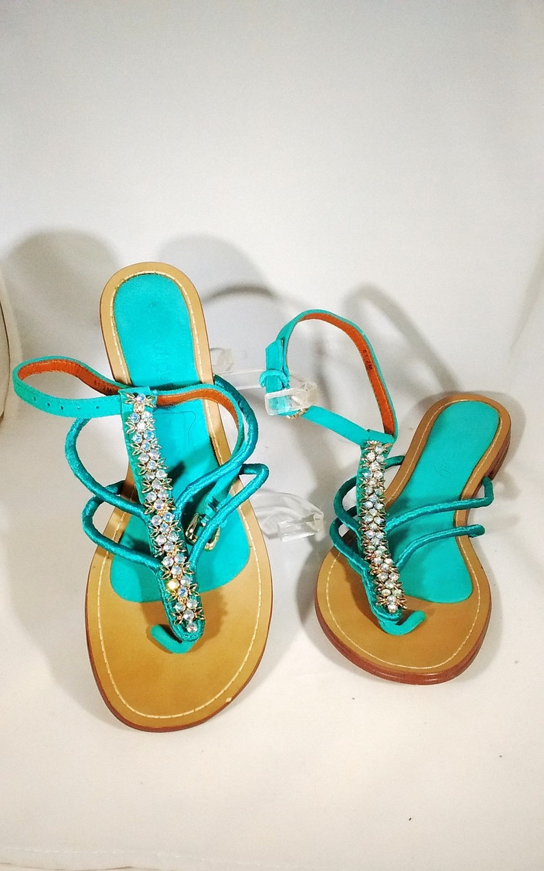 b1f7567545986 Boutique 9 Turquois   Teal Green Jeweled Sandals Casual