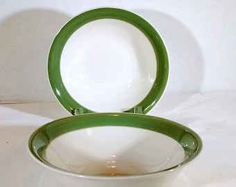 "Gibson 6.5"" soup, salad, cereal bowl with single wide light green band on inside top edge ~ mix and match dining OR starter home / apartment"