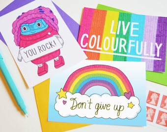 Pick me up postcard pack. Stationery gift, Best friend gift, You rock, Don't give up, Inspiration, Motivation, Typographic, 3 postcards