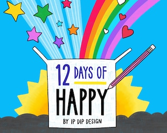 12 Days of Happy. 12 day advent, Mystery box, Surprise box, Best friend gift, Christmas gift, Stationery lover, Motivational, Gift box