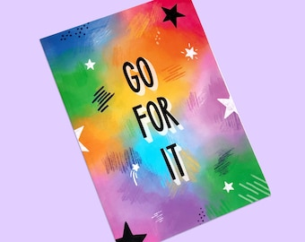Go For It | A5 Notebook. Stationery, Lined notebook, Desk accessories, Rainbow notebook, Best friend gift, Happy stationery, Colourful
