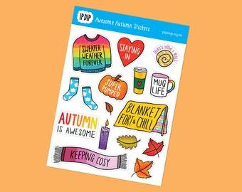 Awesome Autumn | Sticker sheet. Fall stickers, Planner stickers, Bullet journal, Bujo, Journalling, Sweater weather, Sticker sheet
