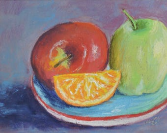 Original Still Life Painting of Two Apples Fruit Painting
