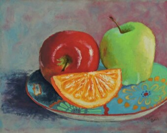 Original Still Life Painting Apples on a Plate