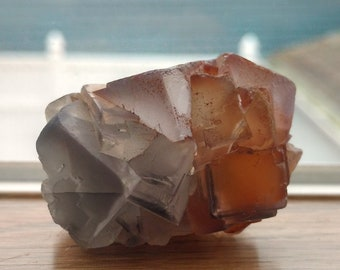 Purple and Orange Cubic Fluorite Cluster - 63.3 grams - Etched Phantom Fluorite, Unheated, Stepped, Zoned, Purple Zoning, Cube Shaped