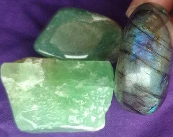 "Heart Chakra Set of 3: Labradorite, Green Aventurine, & Green Calcite - 1.5""-1.75"" Each - Reiki, Healing Crystal Set, Charged Crystals Trio"