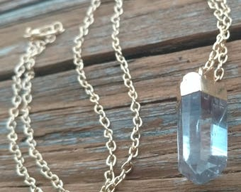 """1.5"""" Cute Electroplated Clear Quartz Crystal Pendant with Gold-Plated Chain - Real Raw Quartz Point, Focal Stone Bead, Gold-Wrapped"""