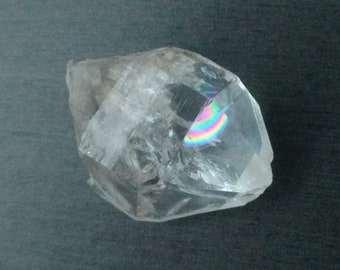 "1.35"" Double Terminated Tibetan Quartz Crystal with Carbon Inclusions - 15 grams - Clear White Quartz Point, Rainbow Inclusions"