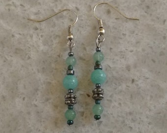 Green Aventurine, Teal Quartz, Hematite, and Silver Earrings: Silver-Plated, Genuine Stones, Cool Colors, Long Dangling Earrings