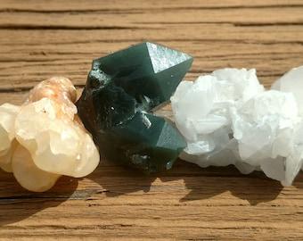 Rare & Unusual! Trio of Unique Inner Mongolian Stones: White Calcite, Yellow Calcite, and Green Hedenbergite Quartz - 98 Grams Total Weight