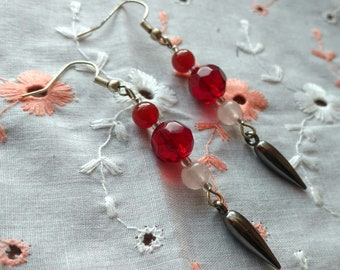 Spiked Drop Earrings with Carnelian, Rose Quartz, & Vintage Red Czech Glass Beads: Genuine Stones, Silver, Gunmetal, Long Dangling Earring