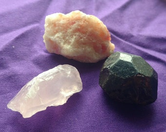 Balance Trio: 3 Heart, Solar Plexus, & Root Chakra Crystals - Rose Quartz, Confetti Sunstone, and Almandine Garnet - Healing, Lower Chakras