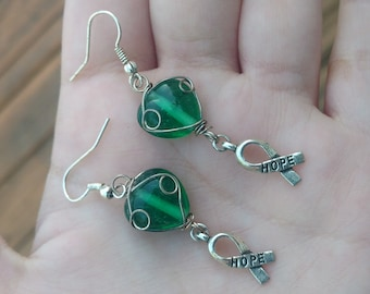 """Green and Silver Awareness Ribbon 'HOPE' Earrings - 1.5"""" Long Drop Earrings - Handmade Lyme Awareness Jewelry, Wire-Wrapped Green Heart"""