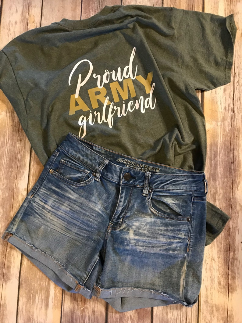 1113545a Proud Army Girlfriend Shirt Proud Army Mom Army Wife | Etsy